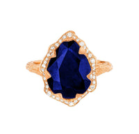 NEW! Queen Water Drop Sapphire Ring with Full Pavé Diamond Halo NEW! Queen Water Drop Sapphire Ring with Full Pavé Diamond Halo