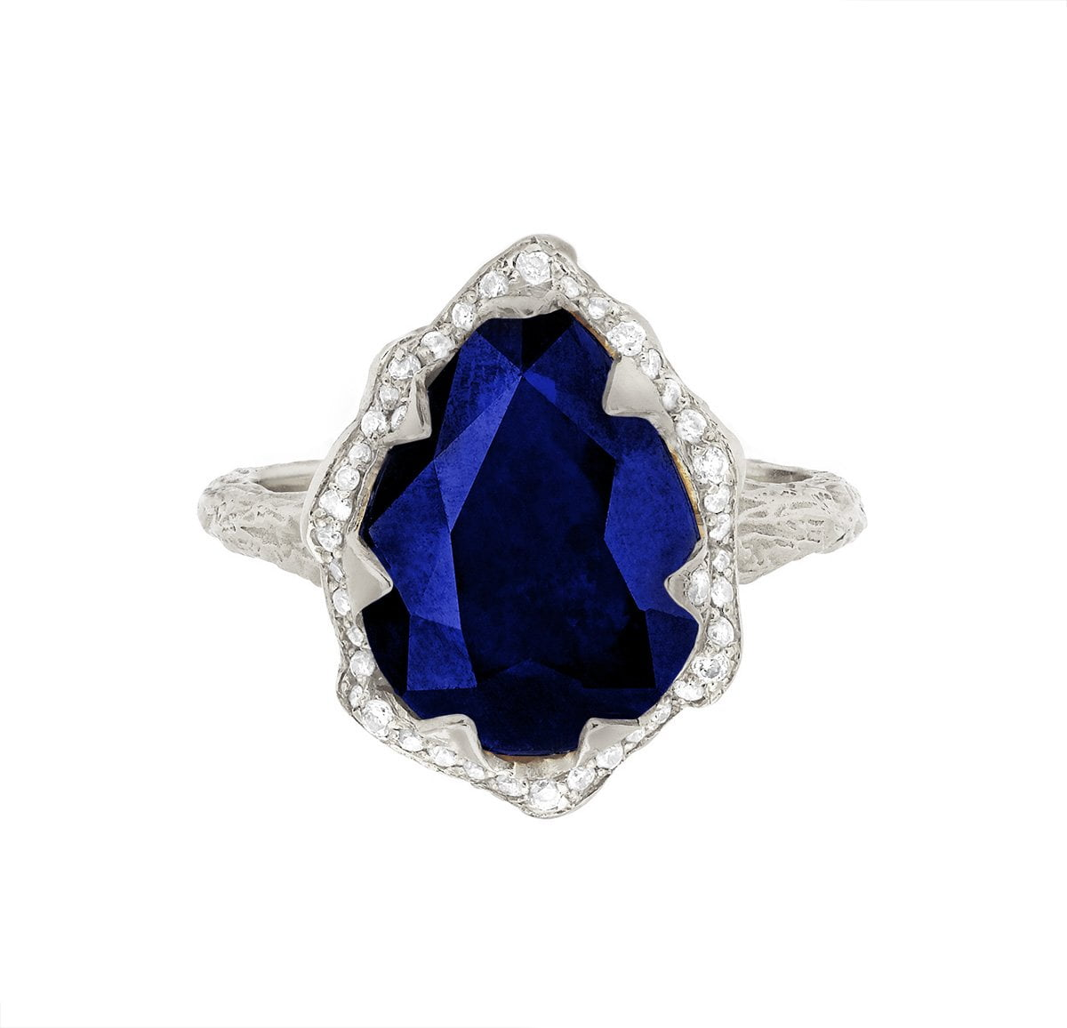 Queen Water Drop Sapphire Ring with Full Pavé Diamond Halo