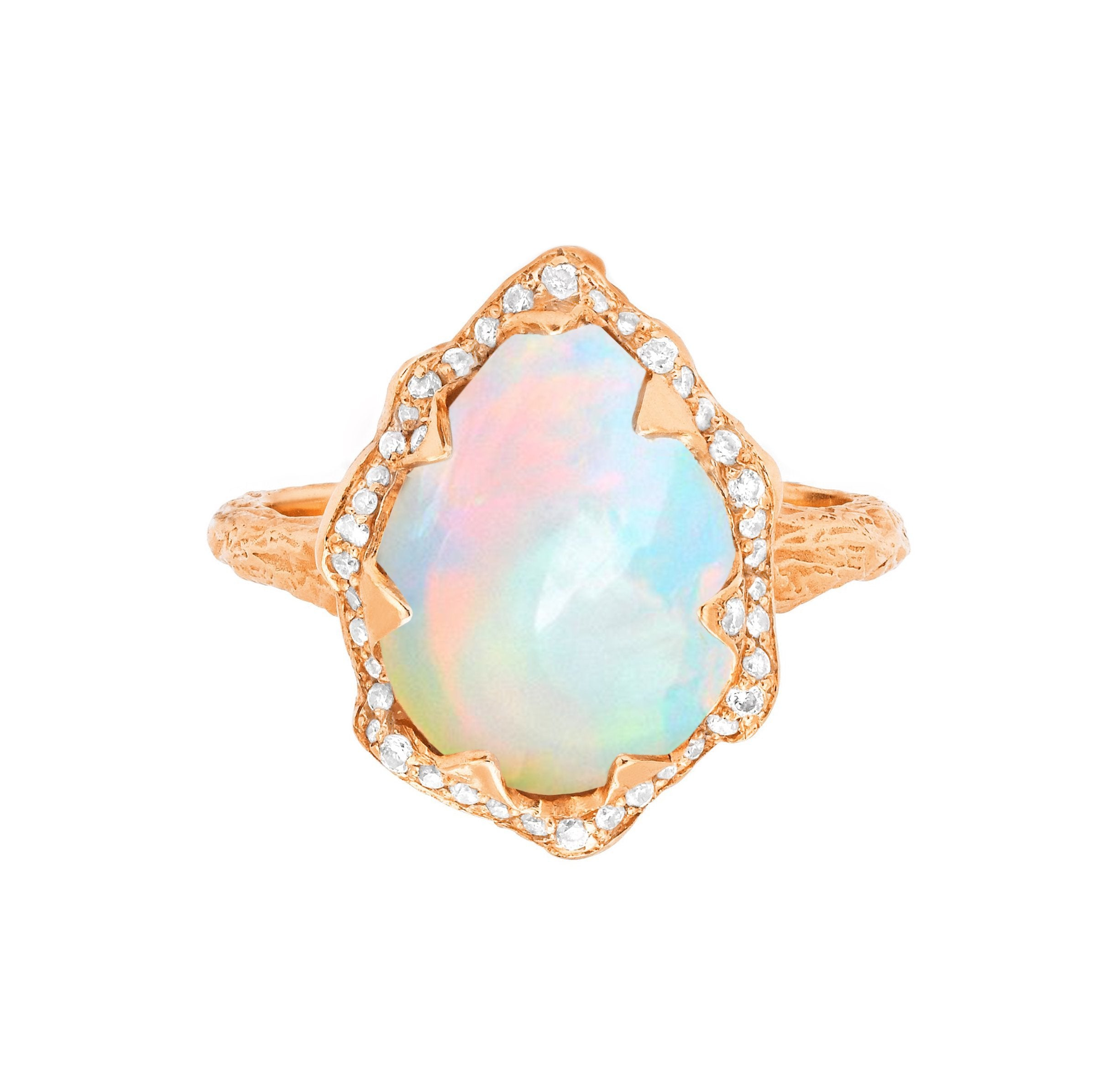 Queen Water Drop Cabochon White Opal Ring with Full Pavé Diamond Halo