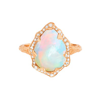 Queen Water Drop Cabochon White Opal Ring with Full Pavé Diamond Halo Queen Water Drop Cabochon White Opal Ring with Full Pavé Diamond Halo