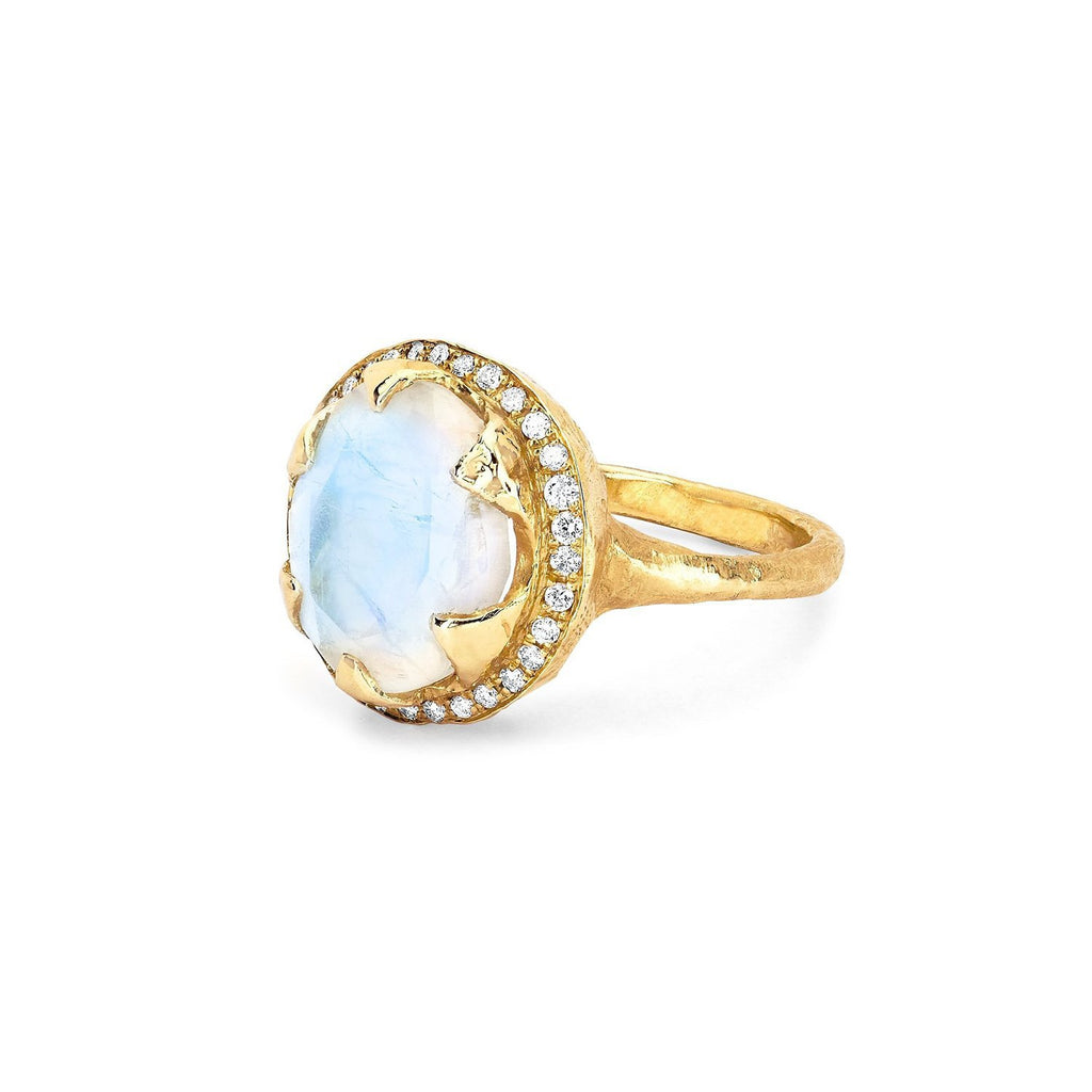 Queen Oval Moonstone Ring with Full Pavé Diamond Halo Queen Oval Moonstone Ring with Full Pavé Diamond Halo