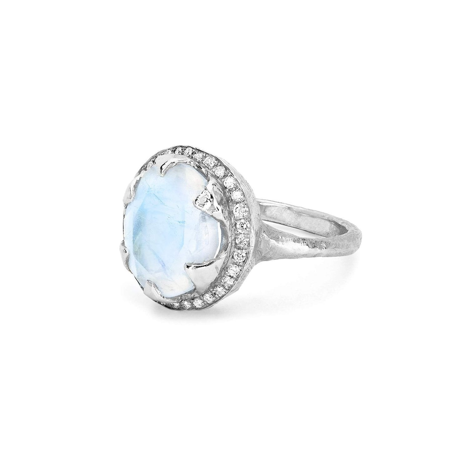 Queen Oval Moonstone Ring with Full Pavé Diamond Halo