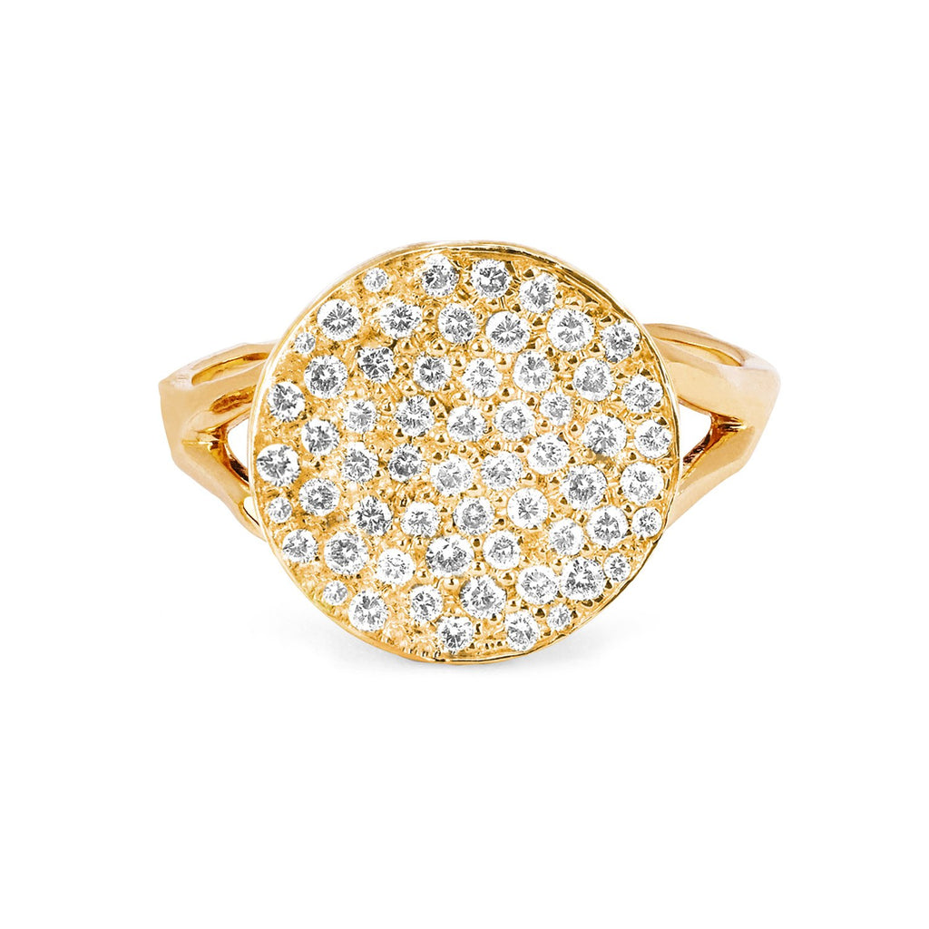 Full Moon Phase Coin Ring Yellow Gold