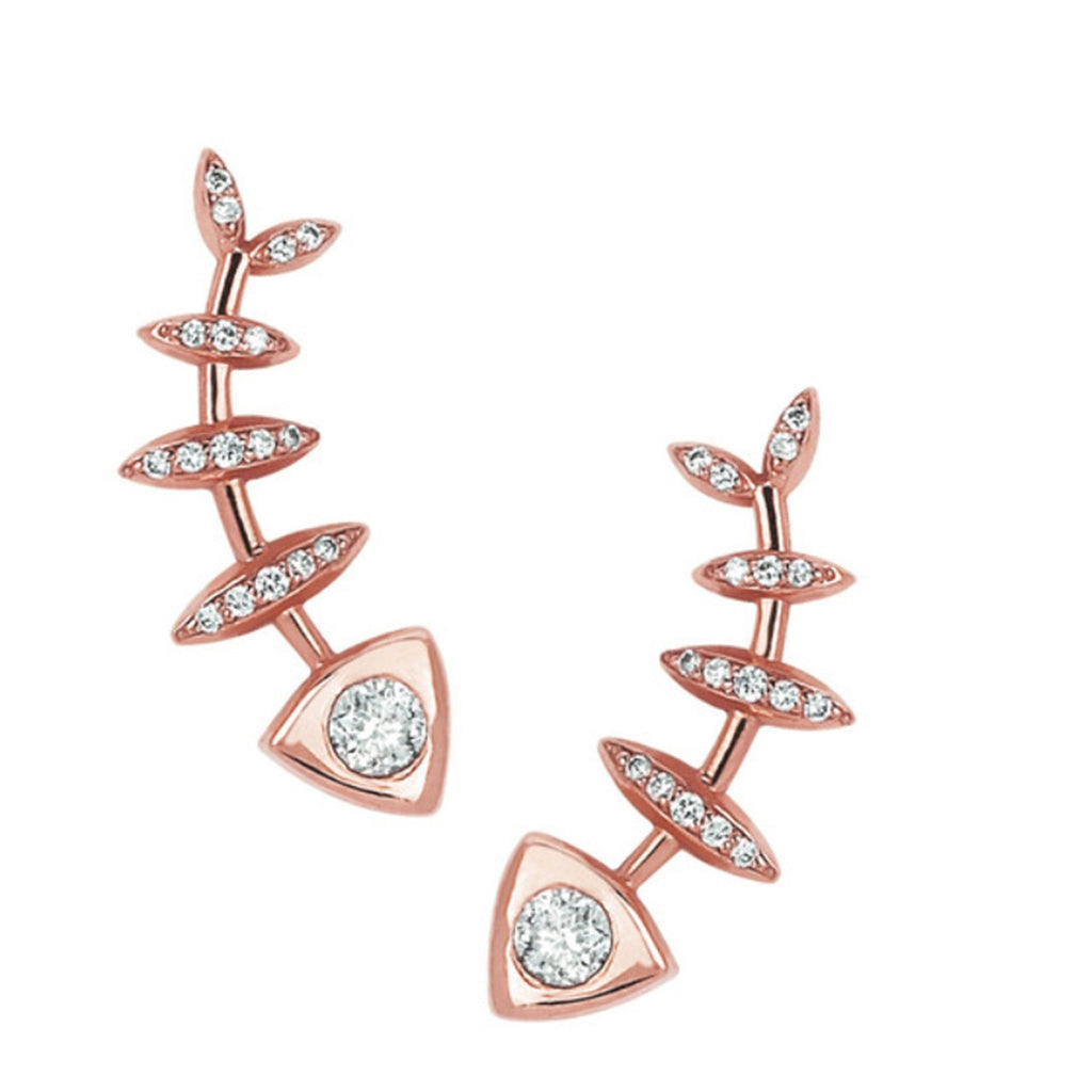 Full Diamond Fishbone Ear Cuff Pair Rose Gold