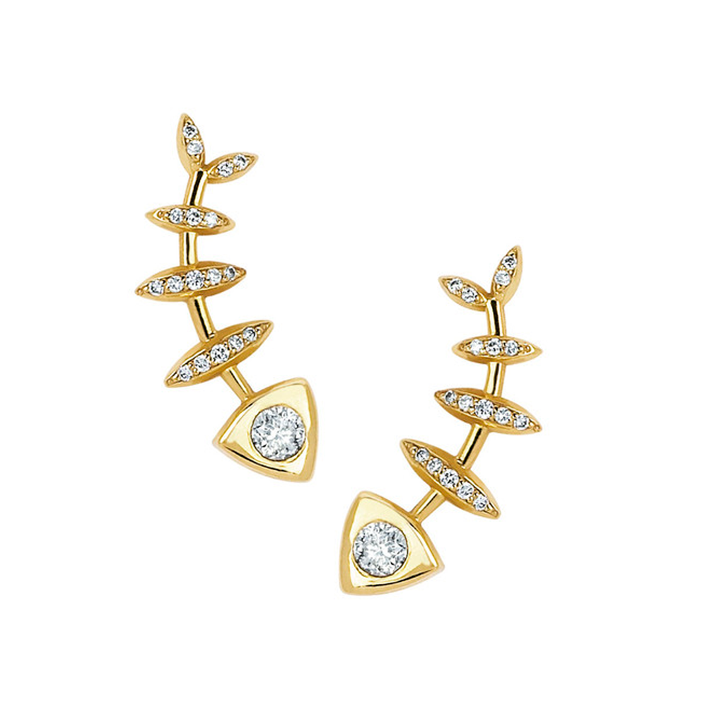 Full Diamond Fishbone Ear Cuff Pair Yellow Gold