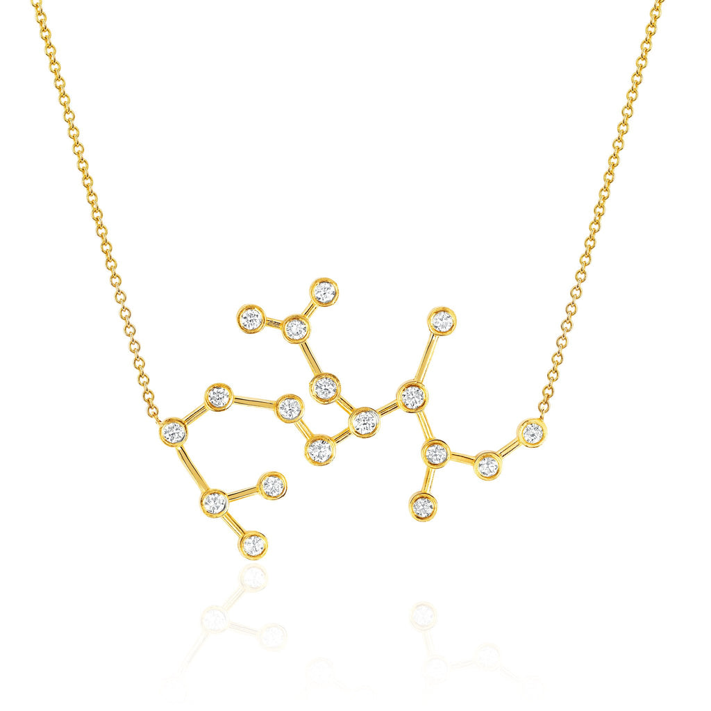Sagittarius Constellation Necklace Yellow Gold