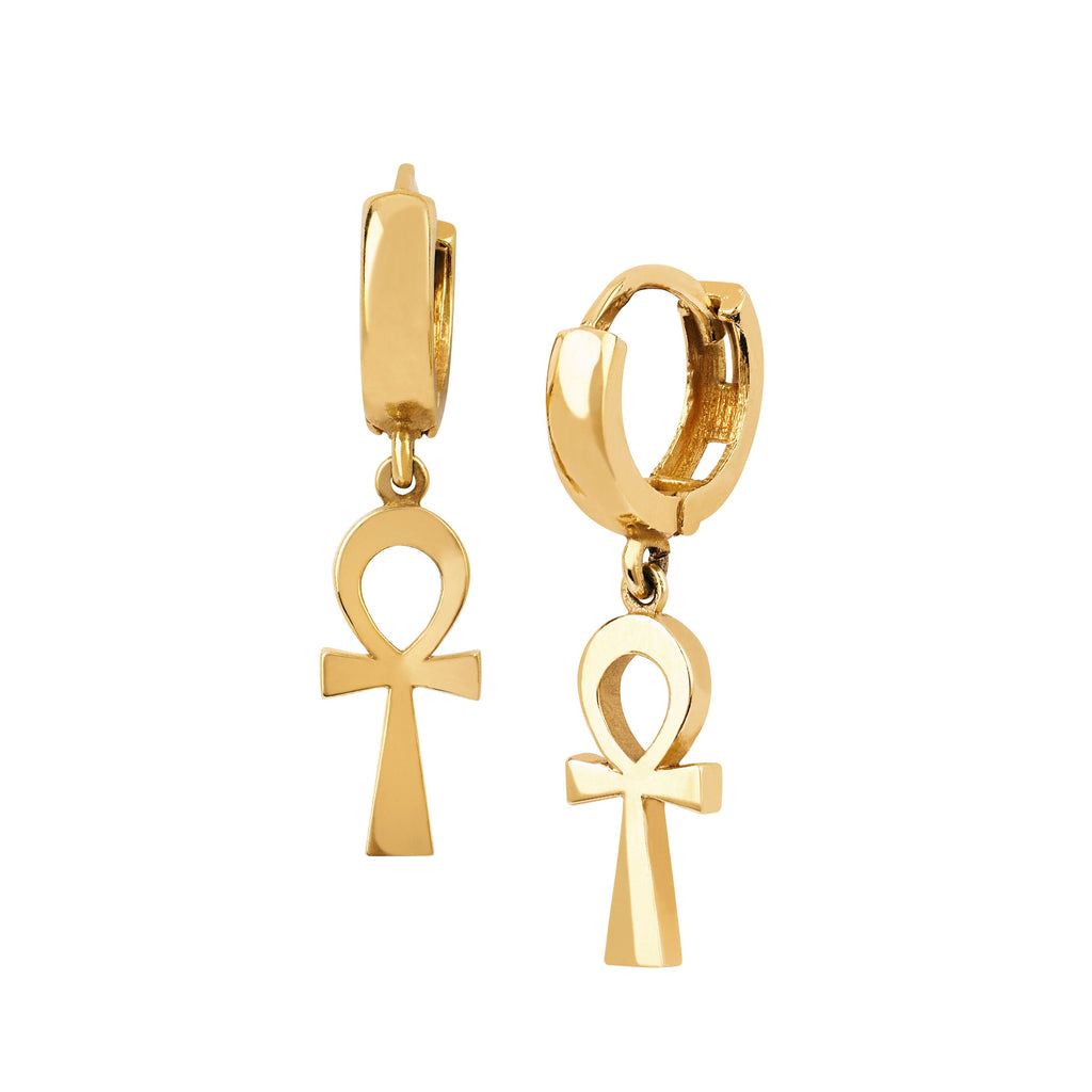 Solid Eternal Ankh Cross Hoop Earrings Yellow Gold