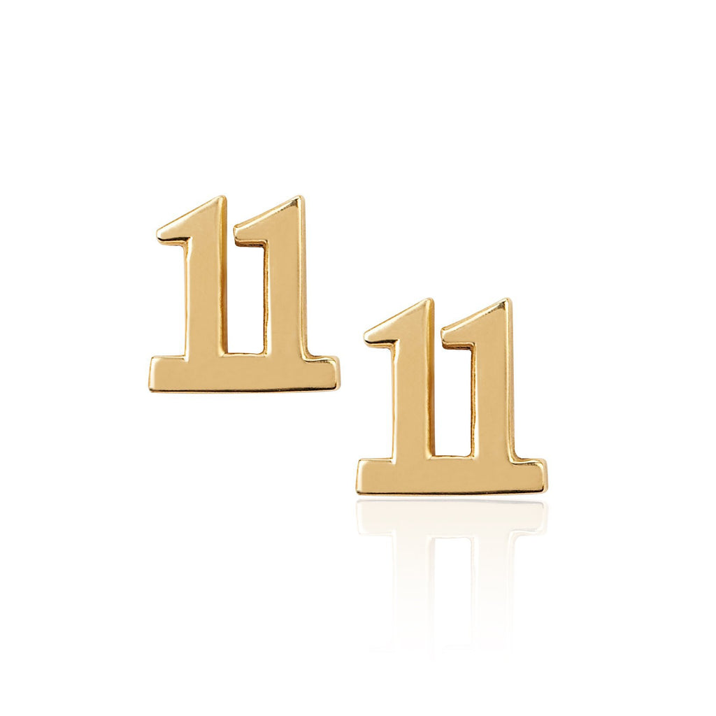 11 Numerology Studs Yellow Gold
