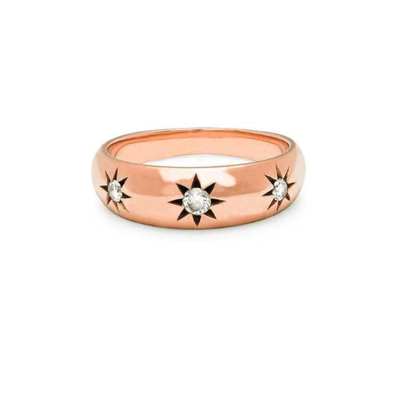 Star Set Rounded Ring Large Rose Gold