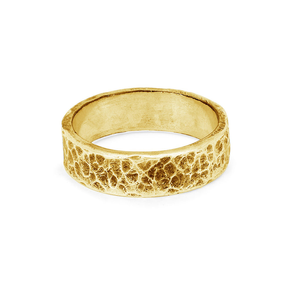 Men's Hammered Band Large Yellow Gold
