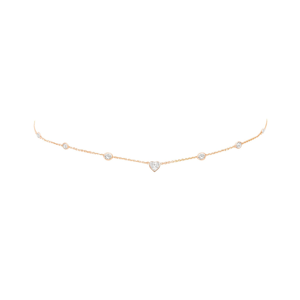 7 Diamond Heart of Light Orbit Choker with Heart Center Rose Gold