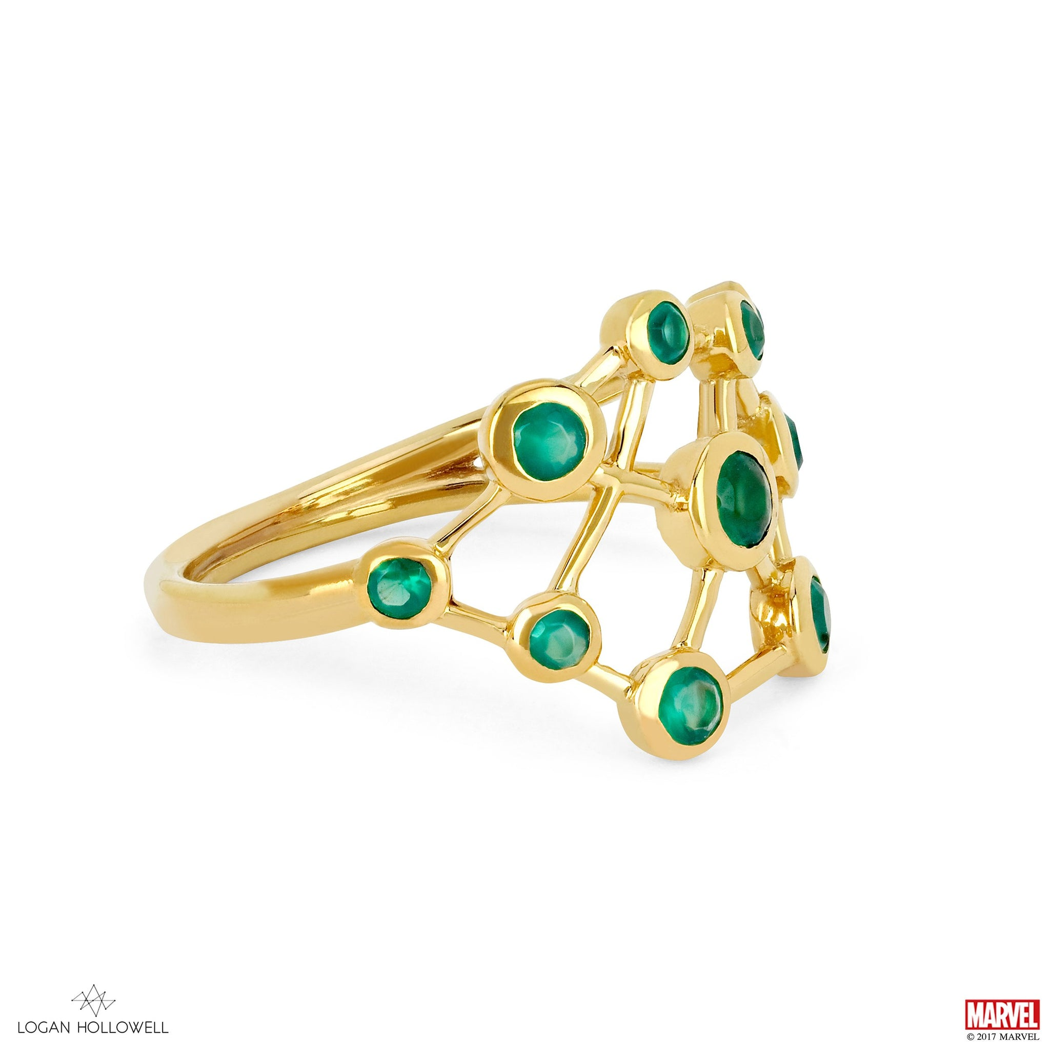 gemstone cluster ring jennie kwon fan rings green sapphire collections