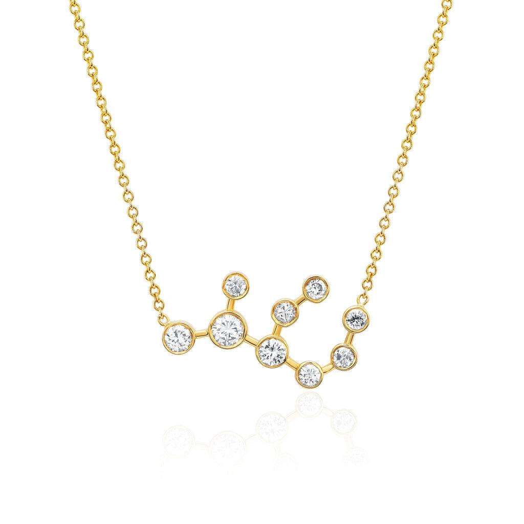 Virgo Constellation Necklace Yellow Gold