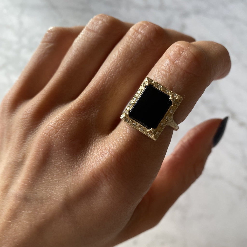 Flat Onyx Ring with Full Pavé Diamond Halo Flat Onyx Ring with Full Pavé Diamond Halo