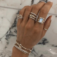 18k Queen Emerald Cut Moonstone Ring with Full Pavé Diamond Halo 18k Queen Emerald Cut Moonstone Ring with Full Pavé Diamond Halo