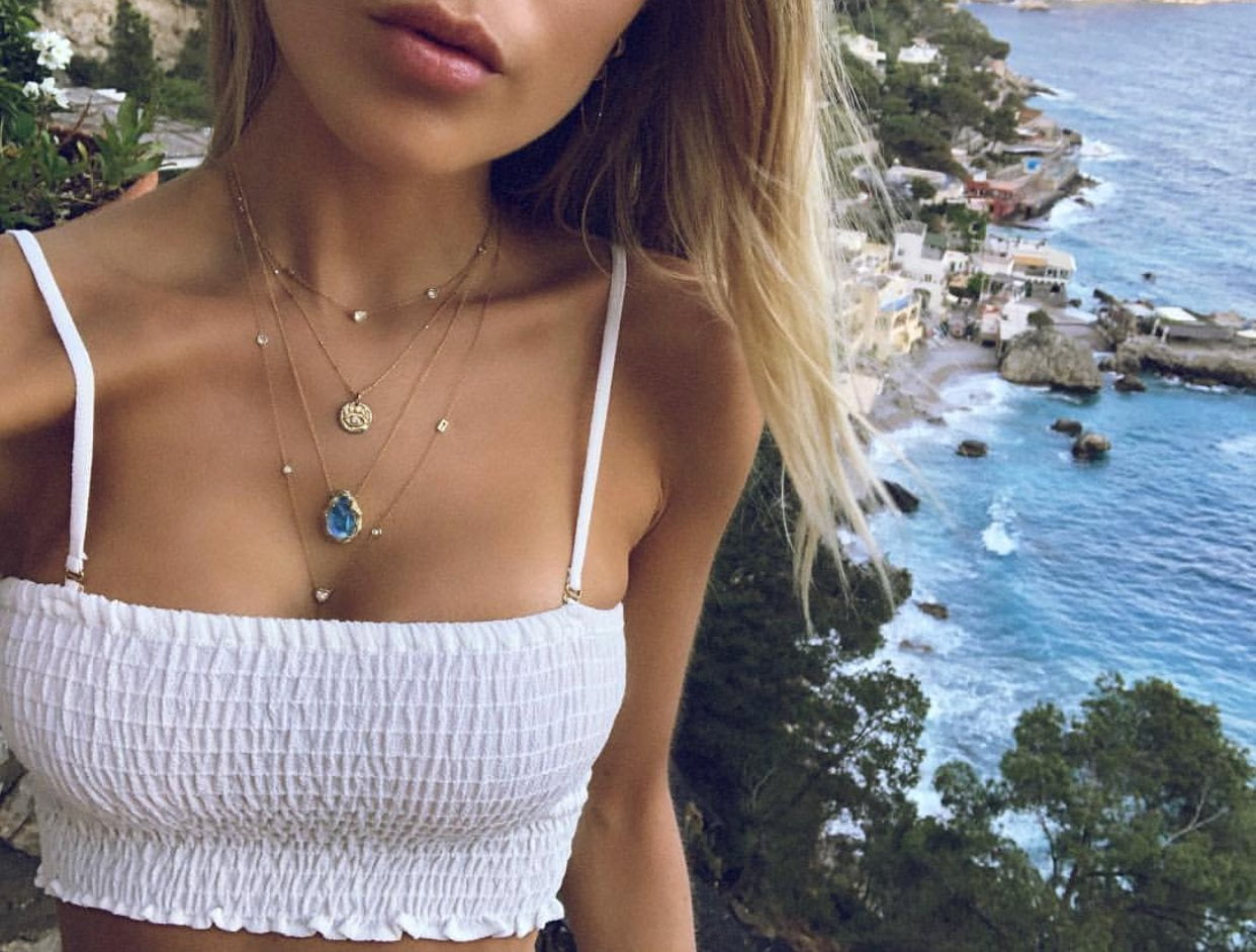 Moonstone Star Droplet Necklace