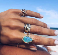 18k Queen Premium Water Drop Blue Opal Ring with Pave Diamond Halo 18k Queen Premium Water Drop Blue Opal Ring with Pave Diamond Halo
