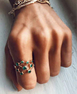 Hela Green Agate Constellation Ring