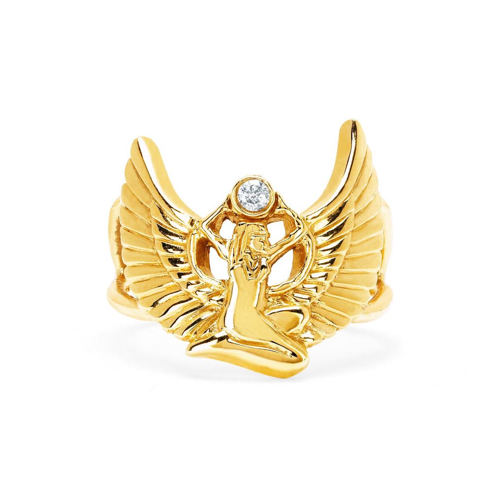 Sacred Egyptian Goddess of Magic Ring Yellow Gold