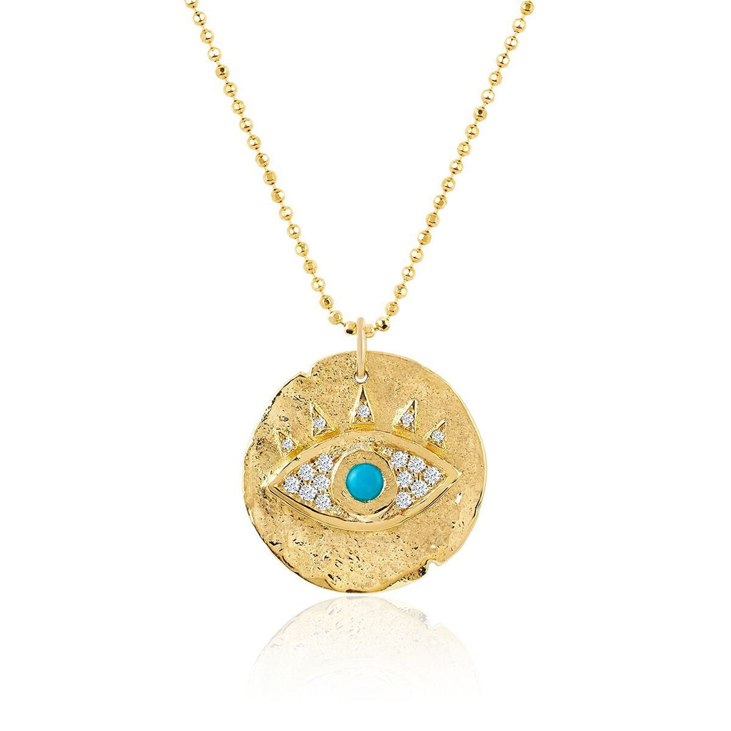 18k Turquoise Eye of Protection Coin Pendant with Inner Diamonds 18k Turquoise Eye of Protection Coin Pendant with Inner Diamonds