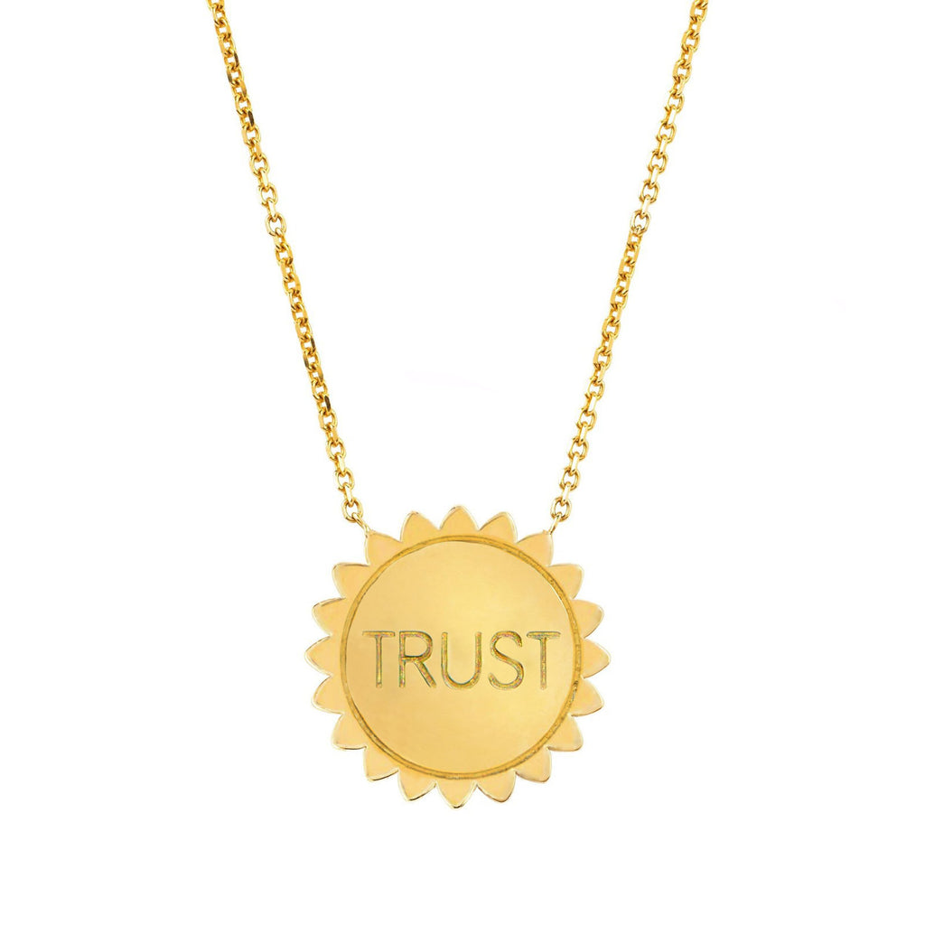 Trust the Universe Medium Sunshine Necklace SOLID Yellow Gold