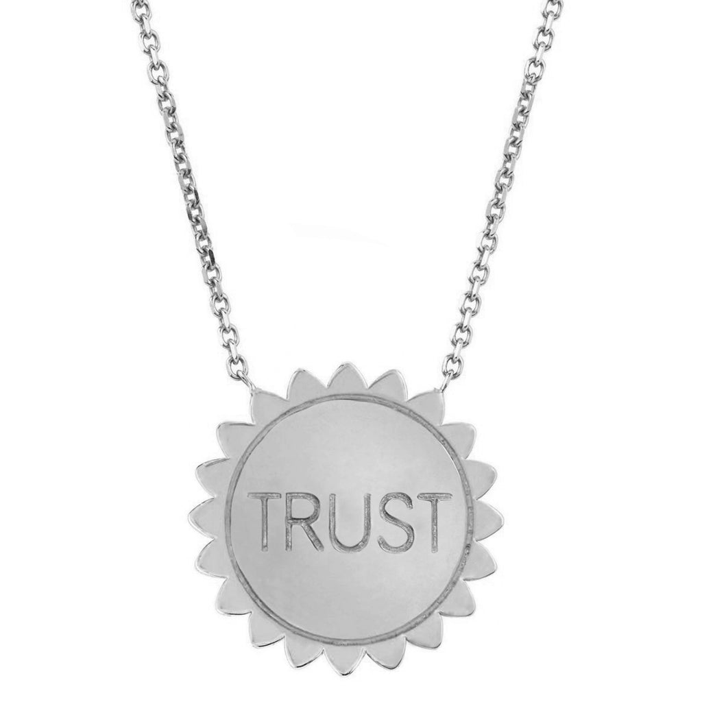 Classic Trust the Universe Sunshine Necklace SOLID White Gold