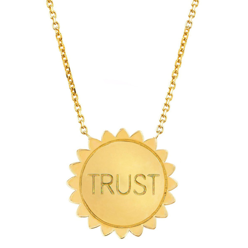 Classic Trust the Universe Sunshine Necklace SOLID Yellow Gold
