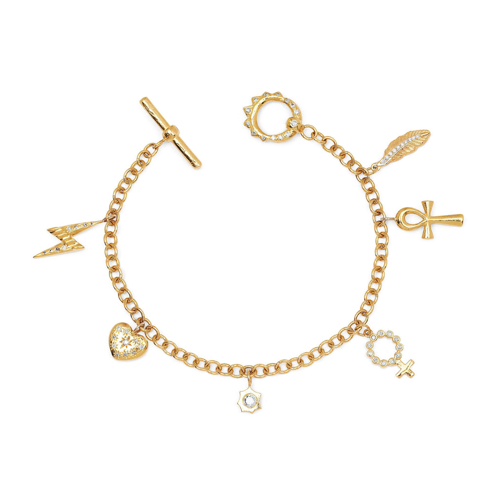 Alchemy Chain Bracelet with Diamond Unity Toggle Yellow Gold