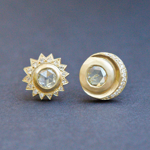 Ra + Khonsu Rose Cut Diamond Studs