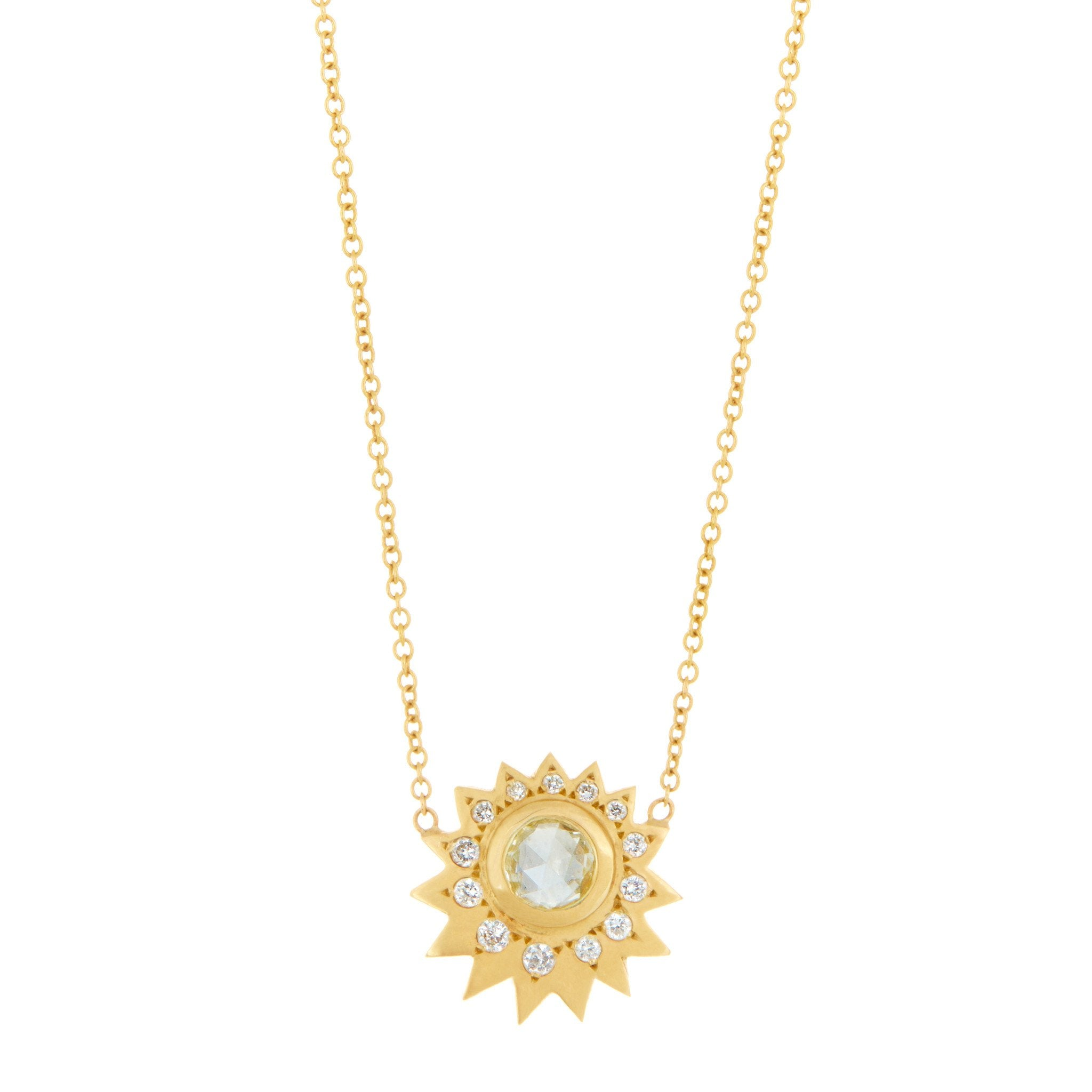 Yellow Rose Cut Diamond Sun Necklace