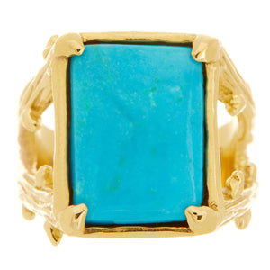 Rectangular Bisbee Turquoise Wilderness Ring
