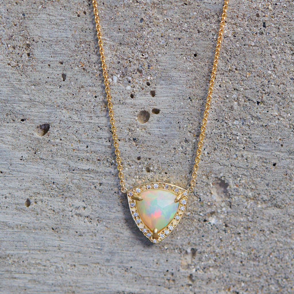 Queen Trillion Cabochon White Opal Necklace with Full Pavé Diamond Halo Queen Trillion Cabochon White Opal Necklace with Full Pavé Diamond Halo