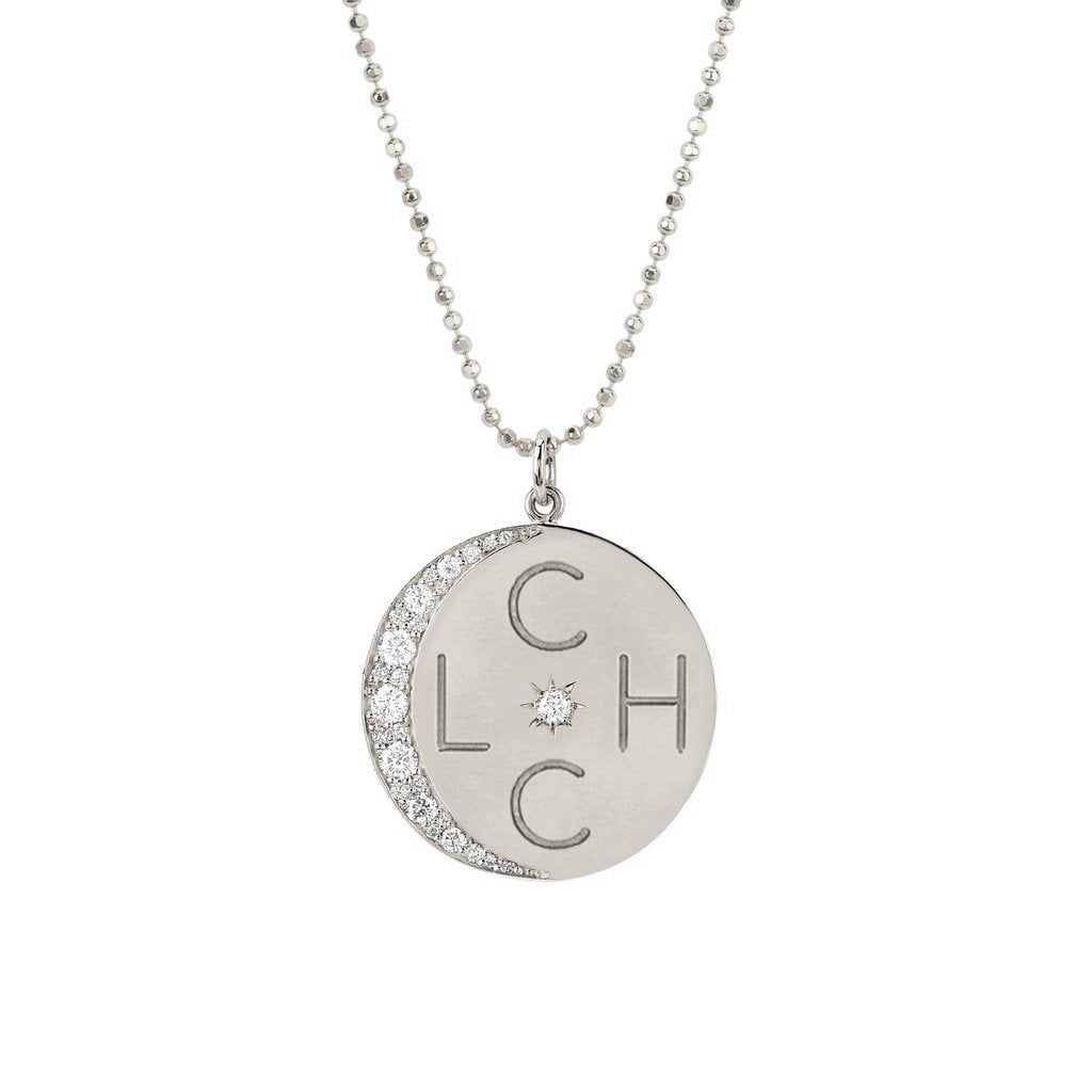 "Classic 4 Initial ""Love You To The Moon"" Necklace with Star Set Diamond"