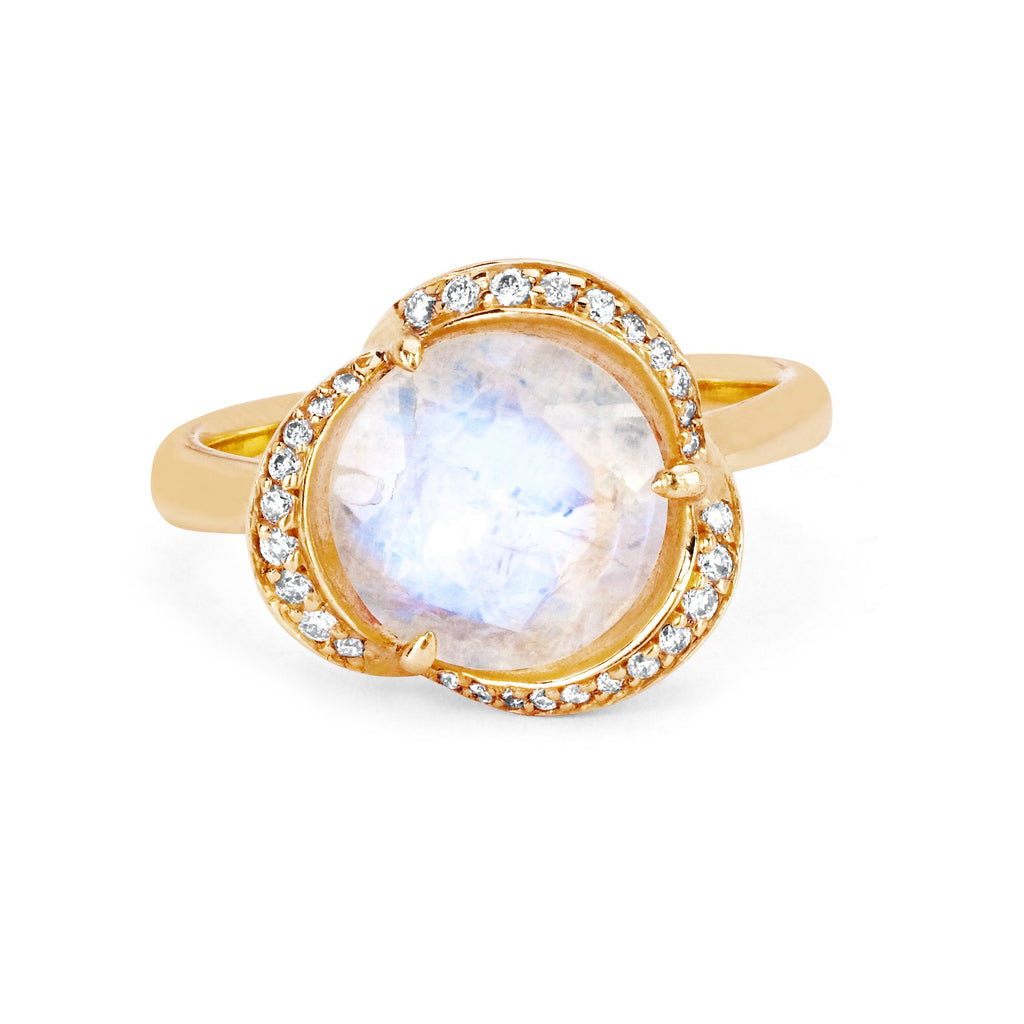 Moonstone Lotus Ring with Diamonds Yellow Gold