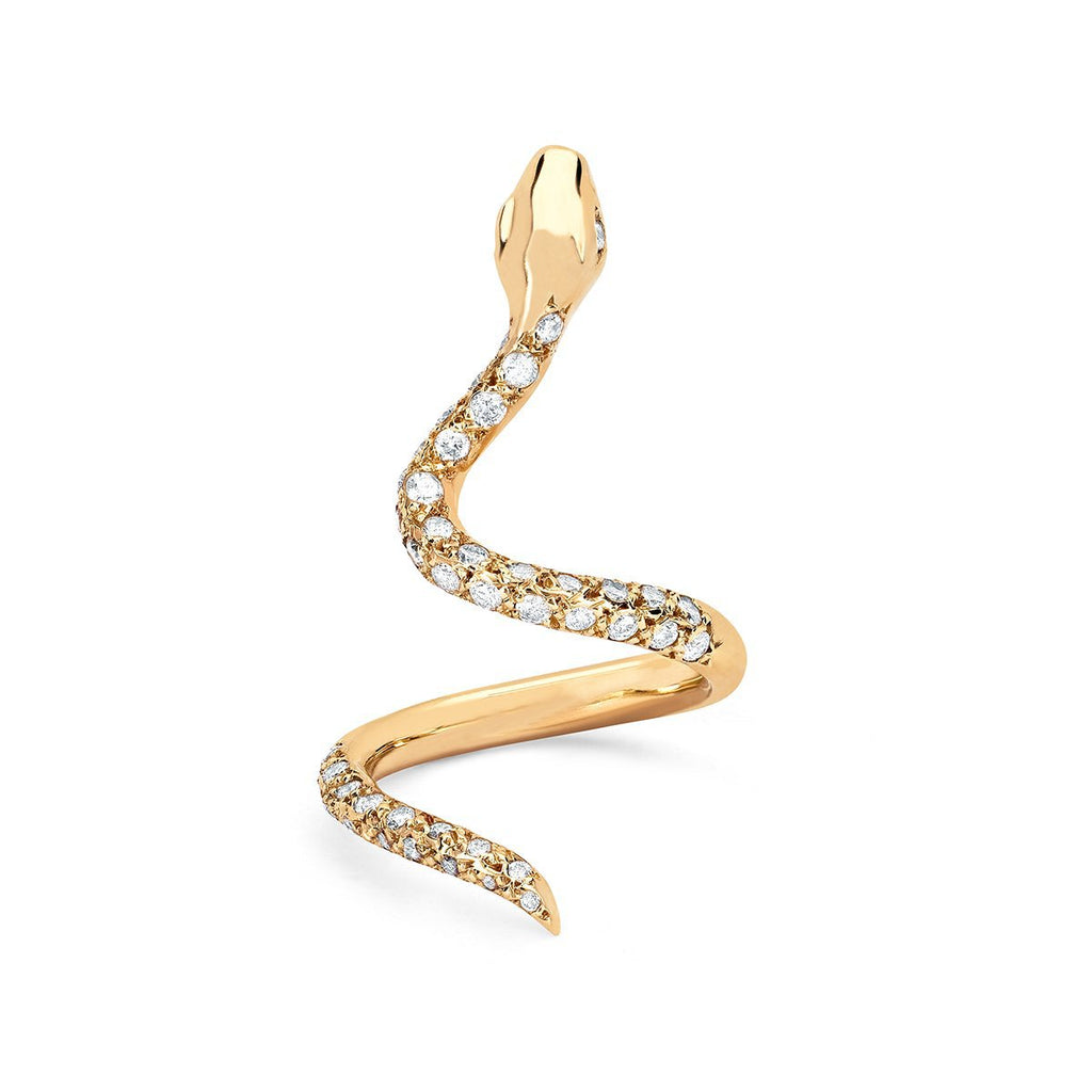 NEW! Snake Wrap Ring with Pavé Diamonds Yellow Gold