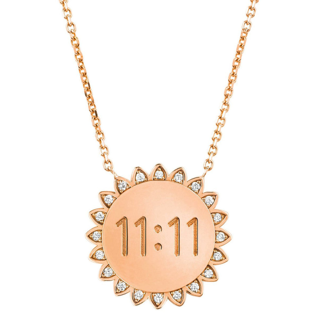 Classic 11:11 Sunshine Necklace with Diamonds Rose Gold
