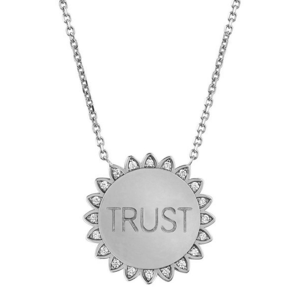Classic Trust the Universe Sunshine Necklace with Diamonds White Gold