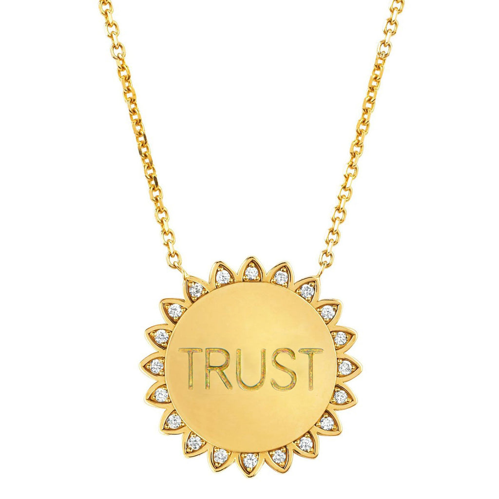 Classic Trust the Universe Sunshine Necklace with Diamonds Yellow Gold