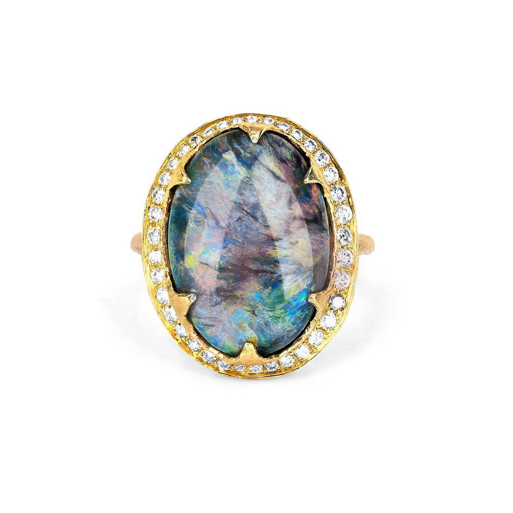 Black Opal Ring with Full Páve Diamond Halo Black Opal Ring with Full Páve Diamond Halo