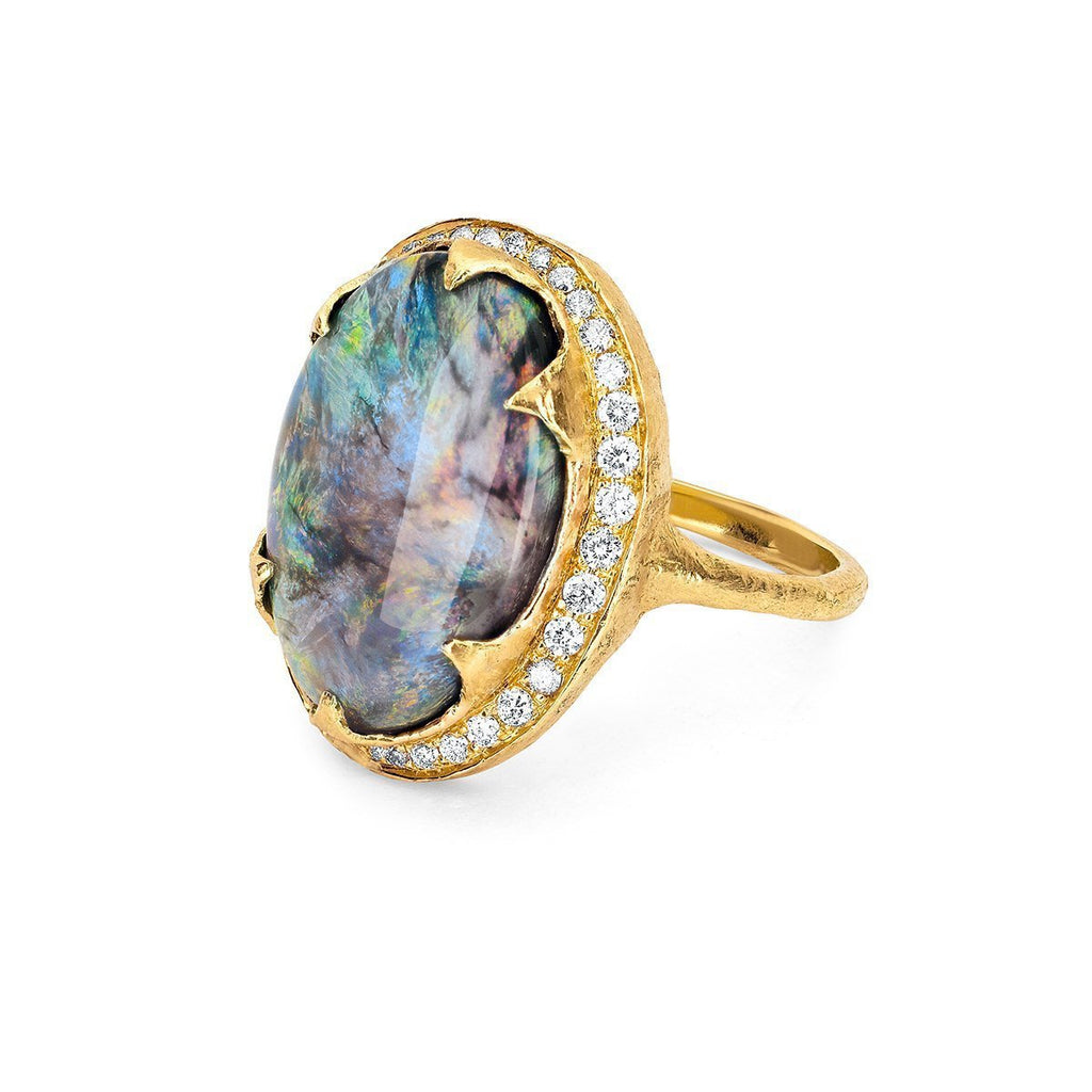 NEW! Black Opal Ring with Full Páve Halo NEW! Black Opal Ring with Full Páve Halo