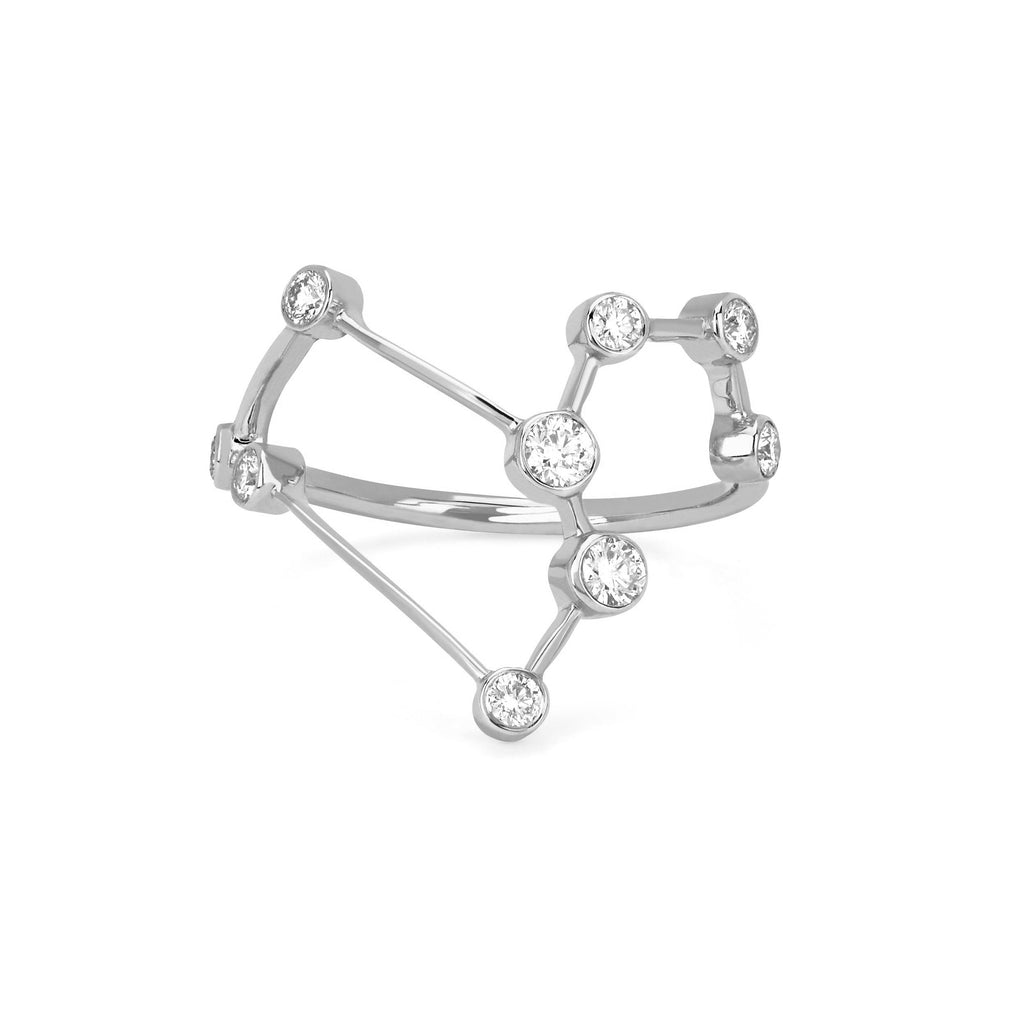 Leo Constellation Ring White Gold