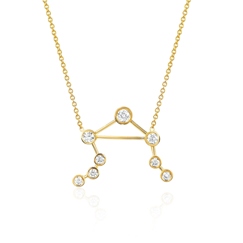 Libra Constellation Necklace Yellow Gold