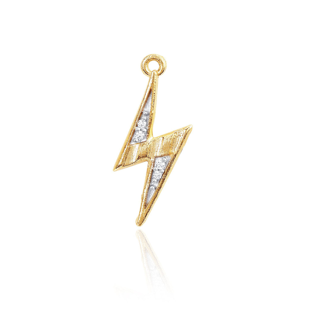 Mini Lightening Bolt Charm Yellow Gold