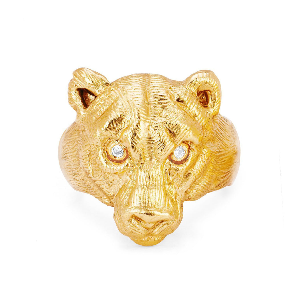 18k Wilderness Lioness Ring Yellow Gold