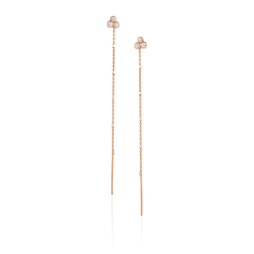 Triple Diamond Shooting Star Half Thread Through Earring Rose Gold