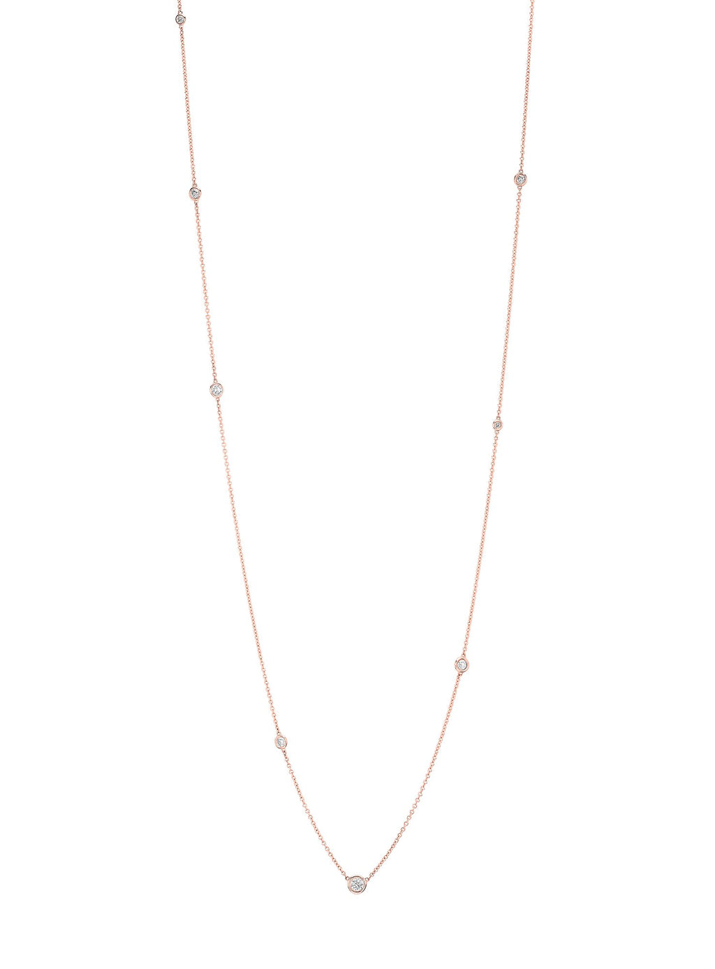 Diamond Orbit Bezel Long Strand Necklace Rose Gold