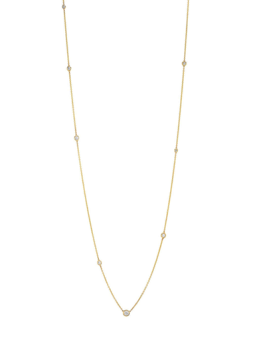 Diamond Orbit Bezel Long Strand Necklace Yellow Gold