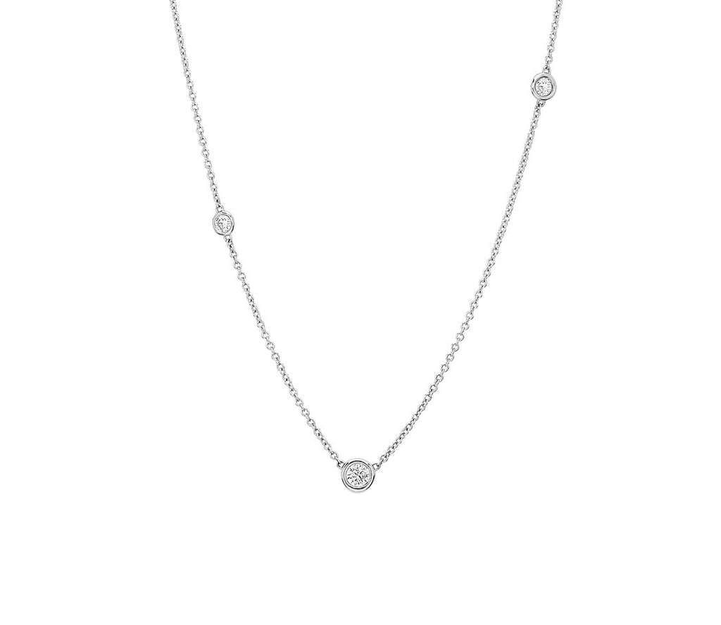 Diamond Orbit Bezel Long Strand Necklace Diamond Orbit Bezel Long Strand Necklace