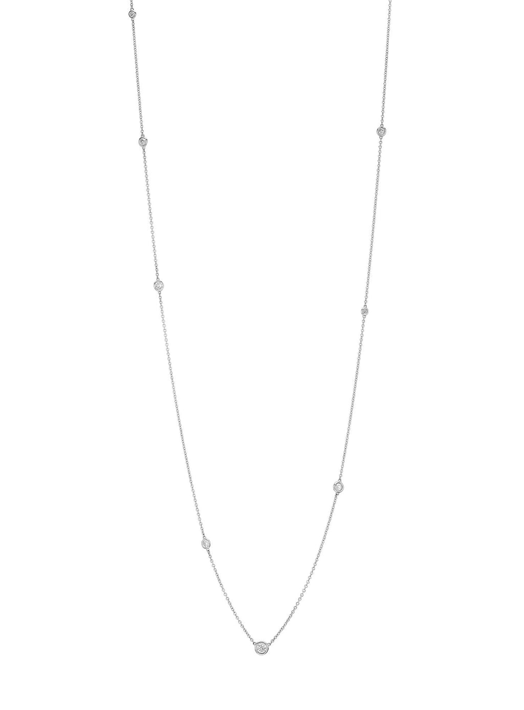 Diamond Orbit Bezel Long Strand Necklace White Gold