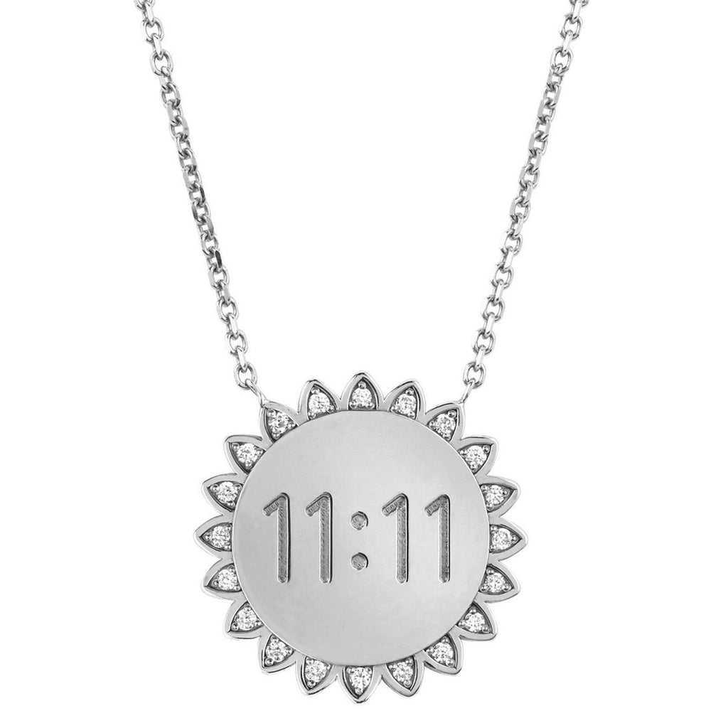 Classic 11:11 Sunshine Necklace with Diamonds White Gold